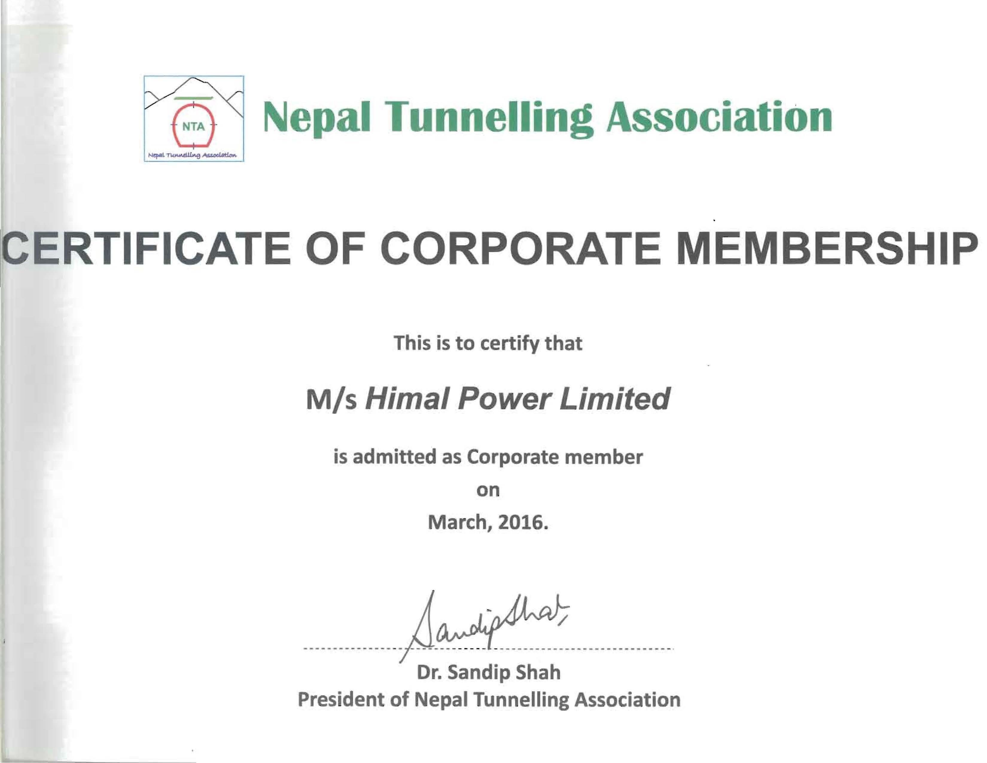 HPL Conferred NTA Membership